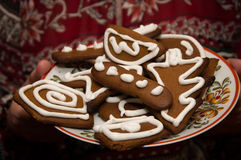 Brown biscuits for Christmas on a plate Stock Images