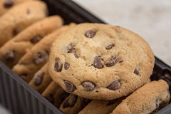 Brown biscuits cookies with chocolate parts Royalty Free Stock Photos