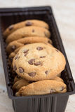 Brown biscuits cookies with chocolate parts Stock Photo