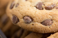 Brown biscuits cookies with chocolate parts Stock Photos