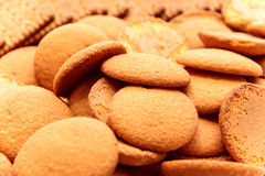 Brown biscuits. A lot of brown, round biscuits from the dough from, close up Stock Photos