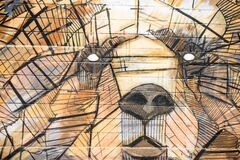 Brown and Black Animal Shape Artwork Painting Stock Images