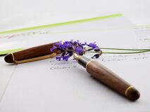 Brown and Black Click Pen royalty free stock photography