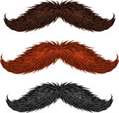 Brown, black and ginger isolated mustaches set Stock Images