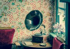 Brown and Black Gramophone Stock Images