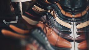 Brown and Black Leather Oxford Near Each Other Royalty Free Stock Photography