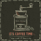 Brown blackboard with  coffee mill and text, vector Royalty Free Stock Photo