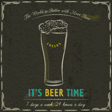 Brown blackboard with cold mugs of beer and text Royalty Free Stock Photo
