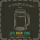 Brown blackboard with cold mugs of beer and text Stock Image