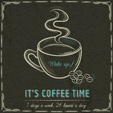 Brown blackboard with a cup of hot coffee and text Royalty Free Stock Photos