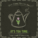 Brown blackboard with a teapot and text, vector Royalty Free Stock Photography