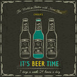 Brown blackboard with three bottles of beer and text Stock Images