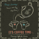 Brown blackboard with a two cup of hot coffee and kettle, vector Royalty Free Stock Photography