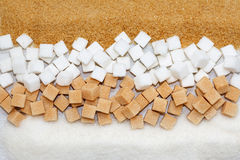 Brown, blanc et sucre raffiné images libres de droits