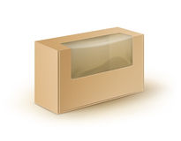 Brown Blank Cardboard Rectangle Take Away Box Packaging For Sandwich, Food, Gift, Other Products with Plastic Window. Vector White Blank Cardboard Rectangle Take Royalty Free Stock Photos