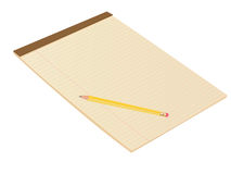 Brown Blank Notepad with Pencil Stock Photo