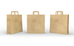 Brown blank paper bag isolated on white with clipping path Stock Photos