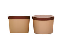 Brown blank short Tub Food Plastic Container packaging with clip Royalty Free Stock Photos