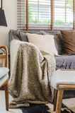 Brown blanket on sofa in living room Stock Image