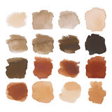 Brown blots watercolor set. Vector Set of dark brown watercolor blots hand painted texture elements isolated on white. Abstract collection of brush splash royalty free illustration