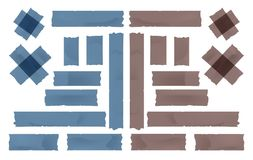 Brown and blue adhesive, sticky, masking, duct tape strips pieces for text on white background Stock Afbeeldingen