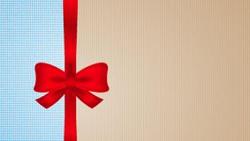 Brown and blue cardboard with red bow Royalty Free Stock Image