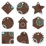 Brown and blue gift tags Stock Photography