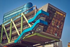 Brown Blue and Green Building With Blue Staircase Royalty Free Stock Images