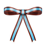Brown with blue satin bow on the isolated Royalty Free Stock Photography