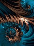 Brown and blue spiral abstract fractal pattern Royalty Free Stock Image