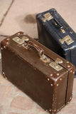 Brown and blue vintage suitcases Royalty Free Stock Image