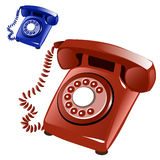 Brown and blue vintage telephone with disk. Vector Royalty Free Stock Photos