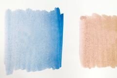 Brown and blue watercolor painting texture on white background . Royalty Free Stock Images