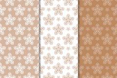 Brown-Blumenverzierungen Set nahtlose Hintergründe Lizenzfreie Stockbilder