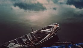 Brown Boat on Sea Royalty Free Stock Photography