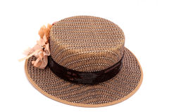 A brown boater hat Stock Photo