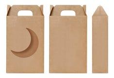 Brown Boksuje nadokiennego kształt ciącego out Pakujący szablon, Pusty Pudełkowaty karton, pudełko papieru Kraft prezenta materia Obrazy Royalty Free