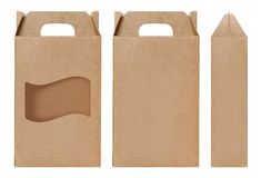 Brown Boksuje nadokiennego kształt ciącego out Pakujący szablon, Pusty Pudełkowaty karton, pudełko papieru Kraft prezenta materia Zdjęcie Royalty Free
