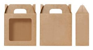 Brown Boksuje nadokiennego kształt ciącego out Pakujący szablon, Pusty Pudełkowaty karton, pudełko papieru Kraft prezenta materia Zdjęcia Stock