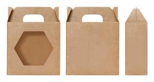 Brown Boksuje nadokiennego kształt ciącego out Pakujący szablon, Pusty Pudełkowaty karton, pudełko papieru Kraft prezenta materia Obraz Stock