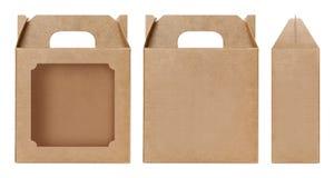 Brown Boksuje nadokiennego kształt ciącego out Pakujący szablon, Pusty Pudełkowaty karton, pudełko papieru Kraft prezenta materia Zdjęcie Stock