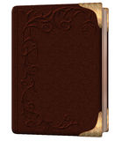 Brown book. Closed book in brown tones with gold corners and a beautiful patterned embossed leather cover Royalty Free Stock Photo