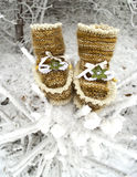brown booties made of wool, with trim and decoration Royalty Free Stock Photo