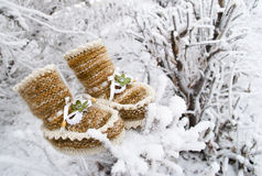 Brown booties with white trim and white ribbons Royalty Free Stock Image
