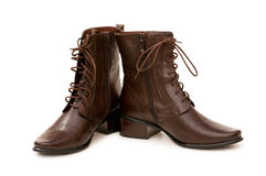 Brown boots isolated Stock Images