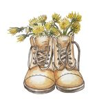 Brown boots like a vase for dandelions royalty free illustration