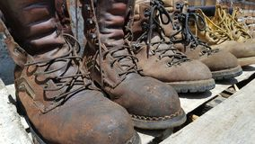 Brown boots, a standard security tool when working. stock images