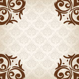 Brown border in damask baroque style Stock Images