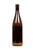 Brown Bottle of Alcohol on a White Background. Brown Bottle of Alcohol Isolated on a White Background royalty free stock photo
