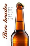 Brown bottle of beer with drops isolated on white. Bottle of beer with drops isolated on white. Beer background Stock Photo